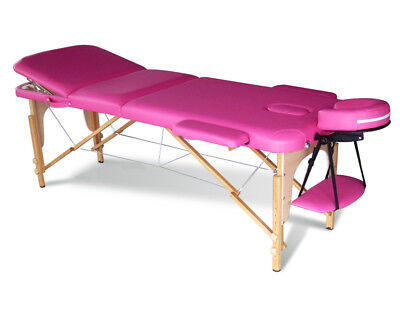 Pink Portable Massage Table Bed Beauty Therapy Couch 3 Section Wood + Cover Bag