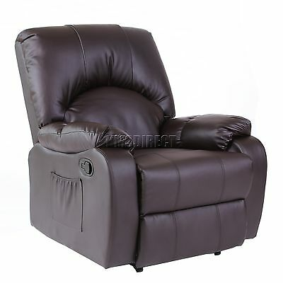 FoxHunter Leather Massage Cinema Recliner Sofa Chair Armchair Heat MLS-03 Brown