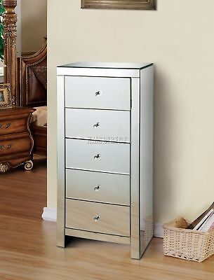 FoxHunter Mirrored Furniture Glass Tallboy Chest Cabinet With 5 Drawer MTC01 New