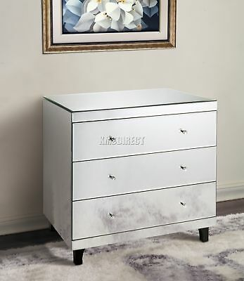 FoxHunter Mirrored Furniture Glass 3 Drawer Chest Cabinet Table Bedroom MC02 New