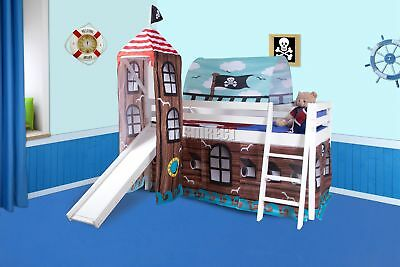 FoxHunter Wood Mid Sleeper Cabin Bunk Bed Kids Tent Slide 3FT White Frame Pirate