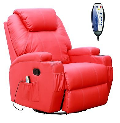 FoxHunter Red Bonded Leather Massage Cinema Recliner Sofa Chair Swivel Rocking