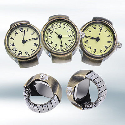 Women Vintage Punk Style Creative Round Alloy Quartz Finger Ring Watch Comely