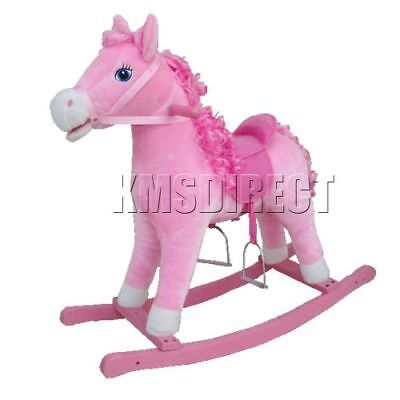 Kids Children Small Wooden Rocking Horse Pink 68cm With Sound Vintage Gift Toy