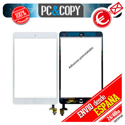 PANTALLA TACTIL PARA iPad mini 2 A1489 BLANCO Y HOME CHIP ADHESIVOS INSTALADOS
