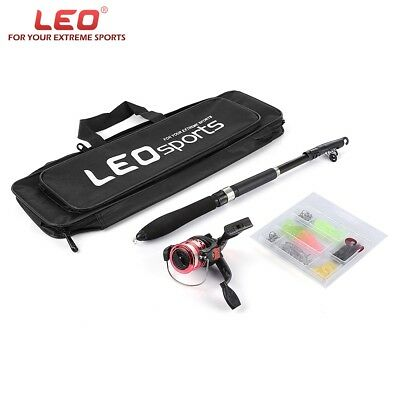 LEO Telescopic Fishing Rod Set with Fish Reel Hook Lure Tackle Accessory 1.6m