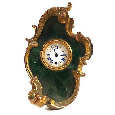 Antique Swiss Bronze & Guilloche Enamel Clock Timepiece