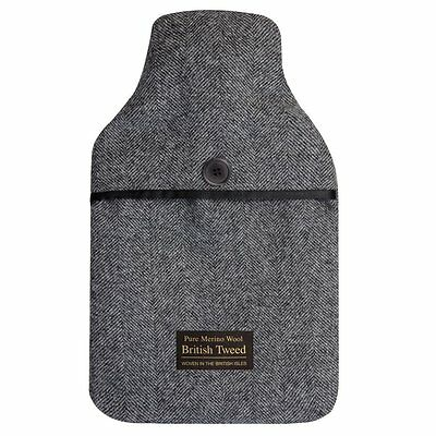 Luxurious Herringbone Tweed Merino Lambswool Cover 2 Litre PVC Hot Water Bottle