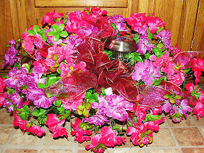 Memorial Spray Silk Flowers Violet Fuschia Solar Light Headstone Grave Saddle