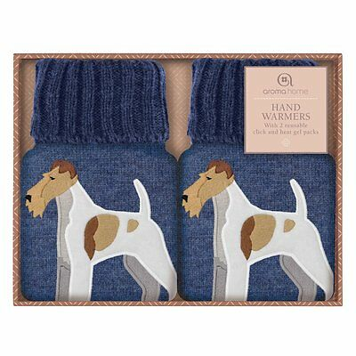 Aroma Home FOX TERRIER Cute Knitted Cover Click & Heat Gel Hand Warmers (PAIR)