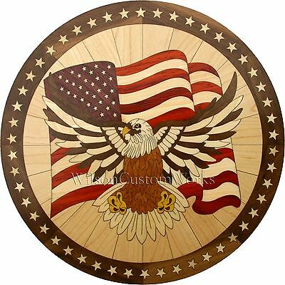 "36"" Wood Floor Medallion Inlay 286 Piece Patriotic eagle kit DIY Flooring Table"
