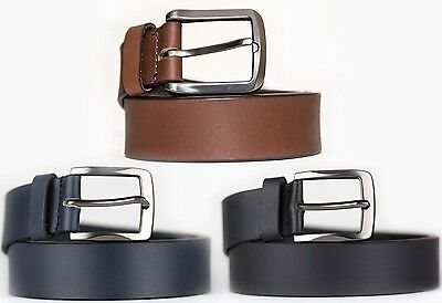 Real Leather Belts Full Grain Genuine Leather Belt Tan Navy Black Silver Buckle