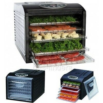 Food Dehydrator Trays and Jerky Maker Electric Fruit Meat Dryer 6 Drying Racks