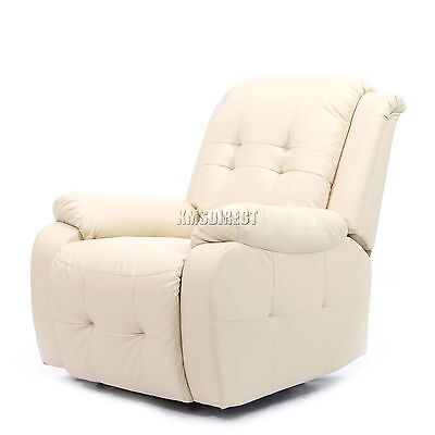 FoxHunter Luxury 1 Seater Leather Cinema Recliner Sofa Chair Armchair RS02 Cream