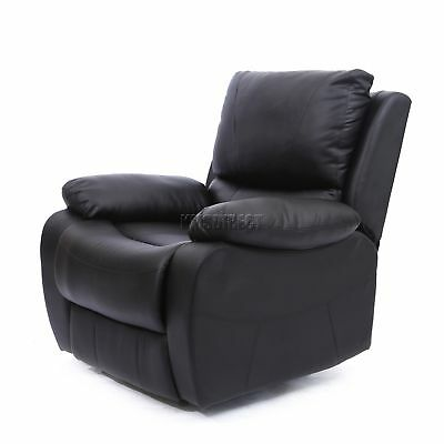 FoxHunter Luxury 1 Seater Leather Cinema Recliner Sofa Chair Armchair RS01 Black