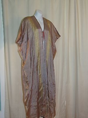 VTG Syrian robe abaya / robe in grey, pink, yellow silk