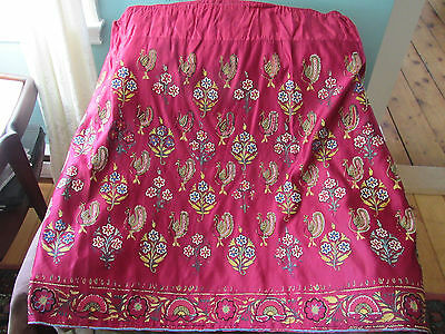 Antique Woman's Red Silk  Hand Embroidered Skirt – Display Piece