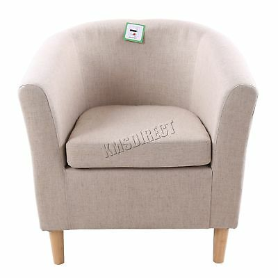 FoxHunter Linen Fabric Tub Chair Armchair Dining Living Room Lounge TC03 Cream