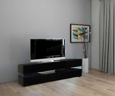 FoxHunter Modern High Gloss Matt TV Cabinet Unit Stand Black RGB LED Light TVC07
