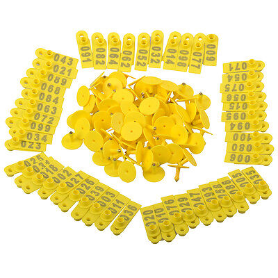 100x Livestock Yellow Marking Ear Tag With Number 1~100 For identify Sheep Goat