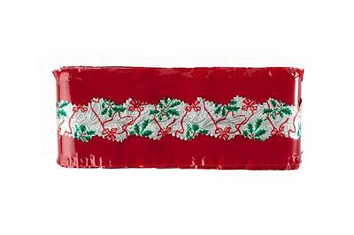 Christmas Cake Frill / Ribbon red with silver band  Decoration 1 YARD