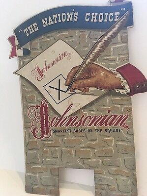 """Vintage Johnsonian """" Smartest Shoes On The Square"""" Shoe Advertising Sign B"""