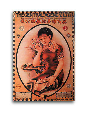 CHINESE PIN UP GIRL Collectible Sewing Fabric Ad Print Shanghai Lady Asian Woman