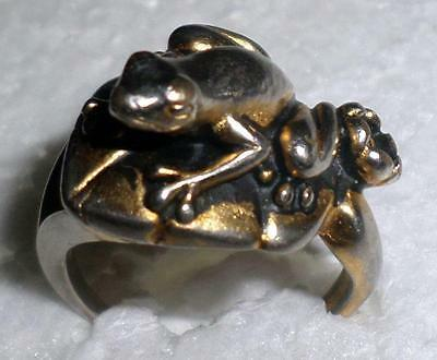 Very Nice Vintage Frog on Lily Pad w/flower ring by COP Castings on Parade Sz8 H