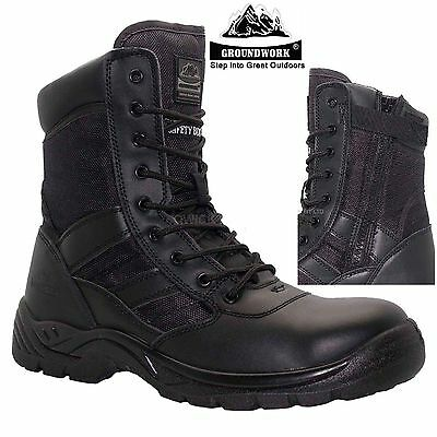 Mens Leather Waterproof Police Military Steel Toe Cap Work Safety Boots Shoes Sz