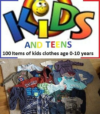 100 Items/ kids age 0-10 years, Boys and girls, all clean grade A clothes