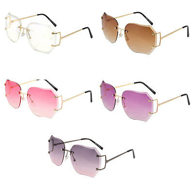 Oversize Vintage Retro Style Clear Lens Sun Glasses Rimless Gold Fashion Frame