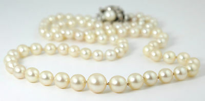 VINTAGE AKOYA MATINEE LENGTH GRADUATED PEARL NECKLACE STERLING SILVER CLASP 60s