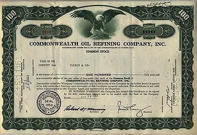 Commonwealth Oil Refining Company Stock Certificate