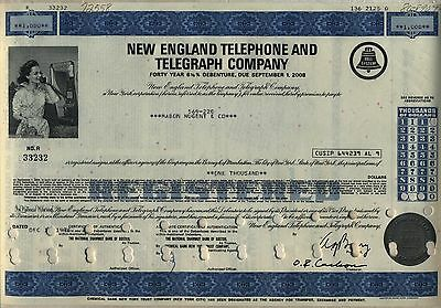 New England Telephone & Telegraph Company Bond Stock Certificate