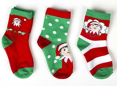 Toddler or Child 3pk Elf On The Shelf Crew Socks Boy Girl Red Christmas Santa
