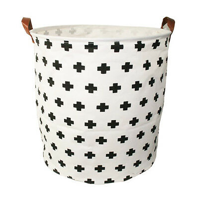 NEW Executive Concepts Canvas Storage Basket White Cross
