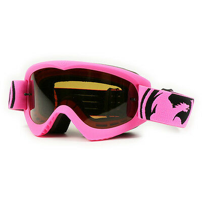 NEW Dragon Mx MDX Rocket Pink Jet Black Tinted Lens Dirt Bike Motocross Goggles