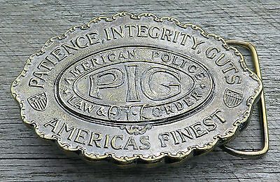 Pig Police Law Enforcement 1970's Vintage Belt Buckle