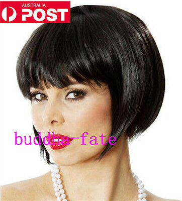 Bob Cosplay Party Wigs Women Ladys Natural Hair Full Wig Straight Short Black