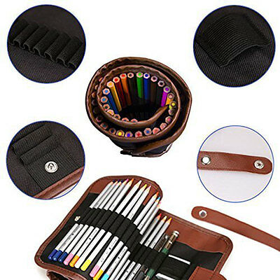 Colored Pencils Holder, 36/48/72 Pencils Case,Canvas Roll up Wrap Bag Pouch For
