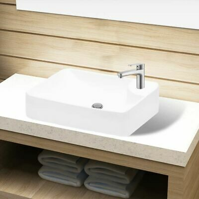 vidaXL Ceramic Bathroom Sink Basin with Faucet Hole White Washroom Powder Room