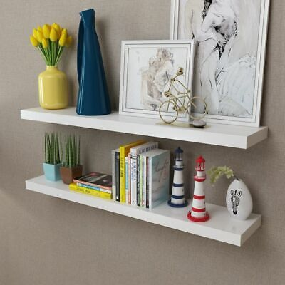 Set of 2 MDF Floating Cubes Wall Storage Book CD Display Shelves White