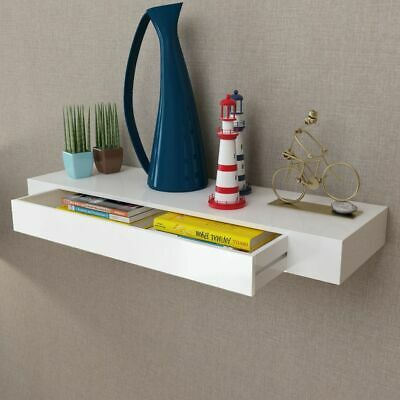 vidaXL Floating Wall Display Shelf 1 Drawer Book/DVD Storage White MDF 80 cm