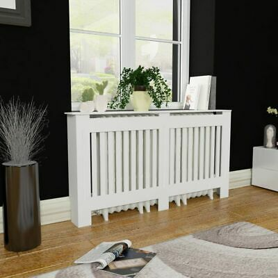 Radiator Cover White Painted Wall Cabinet MDF Heating Covers Shelf 152 cm