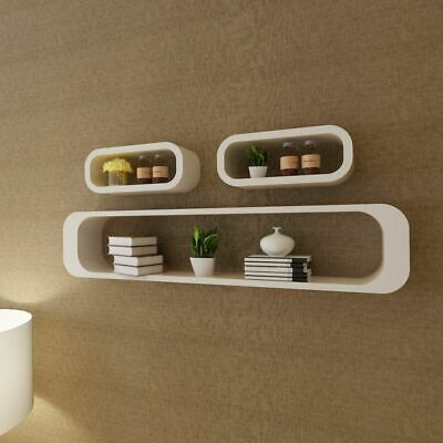 Set of 3 MDF Floating Cubes Wall Storage Book CD Display Shelves Square White