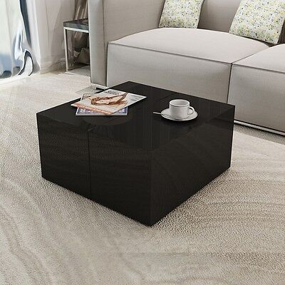 New Coffee Table High Gloss Black Concealed Storage Compartment MDF High-quality