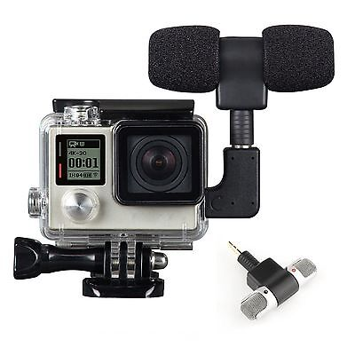 New External Microphone Mic + Adapter + Frame Housing Case For GoPro Hero 4 3+