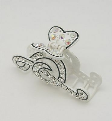 Music note hair clip in white colour with crystal rhinestones