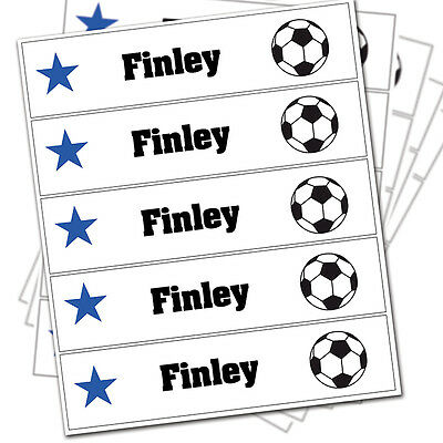 PERSONALISED Children's Iron On Clothes Labels. BACK TO SCHOOL - Football Design