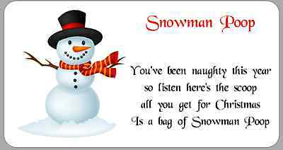 24 x Stickers Christmas Snowman Poop Poem White Labels